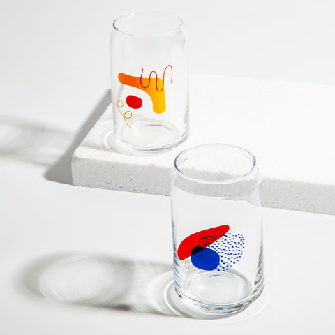 Poketo Drinking Glass in Blue/Red