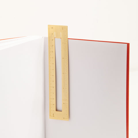 Brass Ruler Bookmark in Book