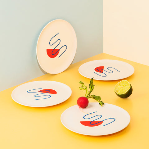 Bamboo Salad Plate Set in Doodles