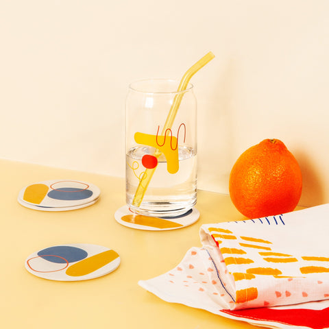 Bamboo Coasters in Yellow Abstract Set With Glass and Straw