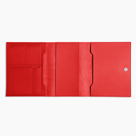 Medium Minimalist Folio V2 in Red Open