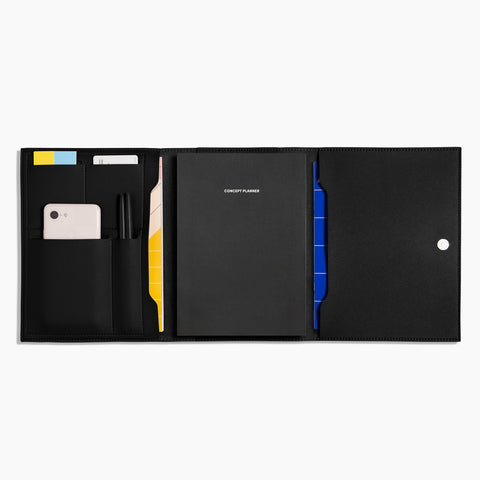 Medium Minimalist Folio V2 in Black filled