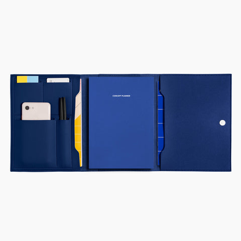 Medium Minimalist Folio V2 in Cobalt Open Full