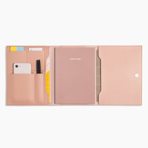 Medium Minimalist Folio V2 in Blush Open Full