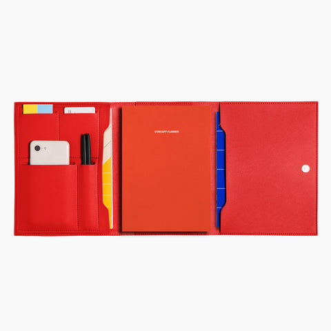 Medium Minimalist Folio V2 in Red Open Full