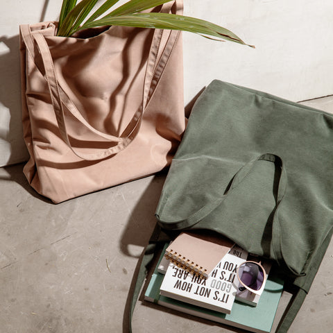 minimal tote tencel forest green shoulder bag