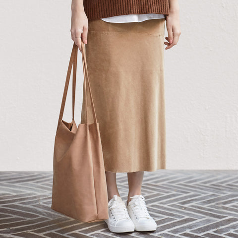 minimal tote tencel beige pink shoulder bag