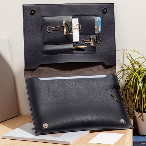 "Large Minimalist Folio Navy 13"" Laptop Organizer"
