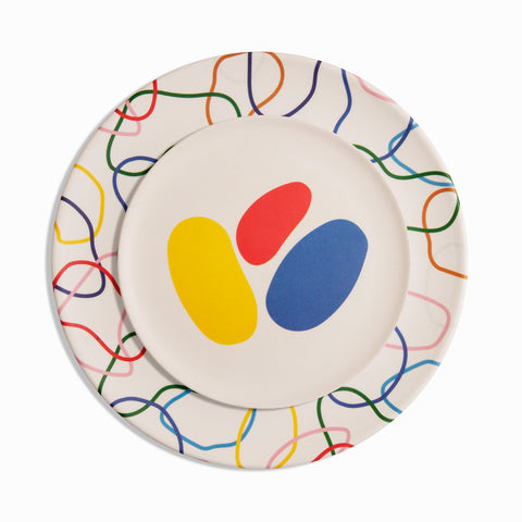 Bamboo Salad Plates in Abstract Shapes Primary Colors with Bamboo Dinner Plate
