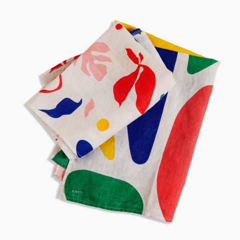Linen Tea Towel in Multi Colors Abstract Flora