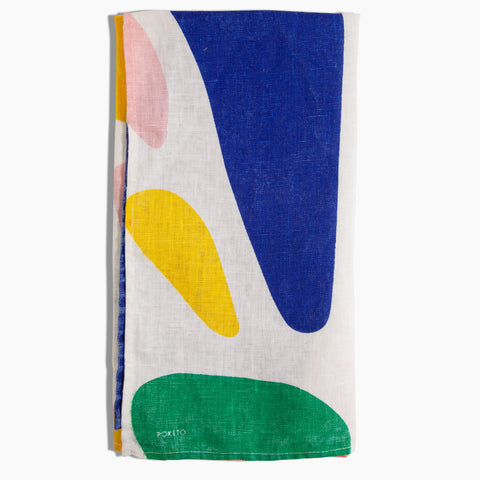 Linen Tea Towel in Multi Color Abstract Shapes