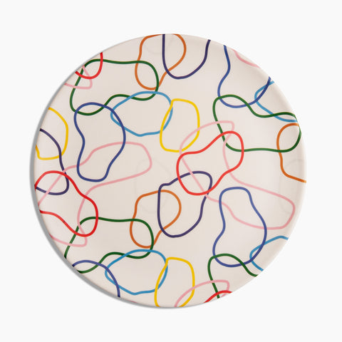 Bamboo Dinner Plates in Outline Multicolored
