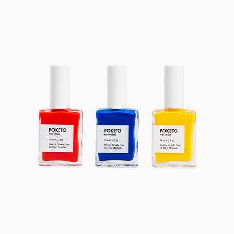 Poketo Nail Polish Ellsworth Blue Red Yellow