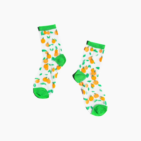 Oranges Green Sheer Socks