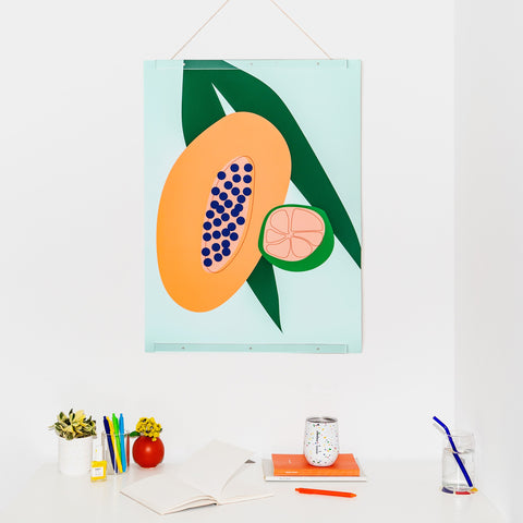 Papaya Print Hanging on Wall with Acrylic Poster Frame