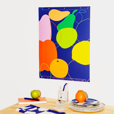 Mixed Fruit Print Hanging with Acrylic Poster Frame
