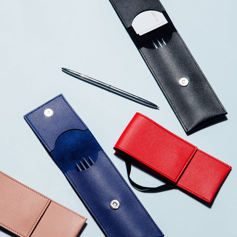Elastic Minimalist Pen Pouch Red Blue Black Blush