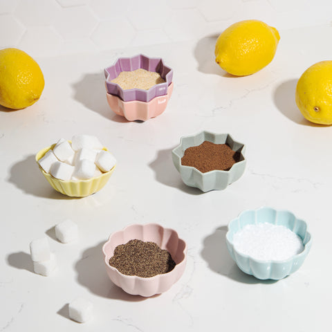 Ceramic Petite Bowls blue yellow lavender pink