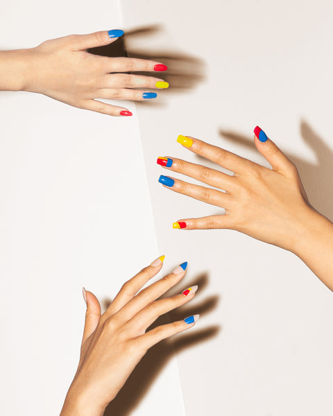 Poketo Nail Polish Ellsworth Red Blue Yellow On Hand Models