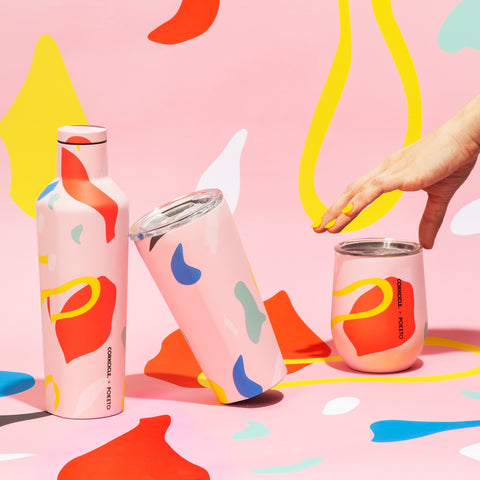 Corkcicle x Poketo Tumbler in Pink Party