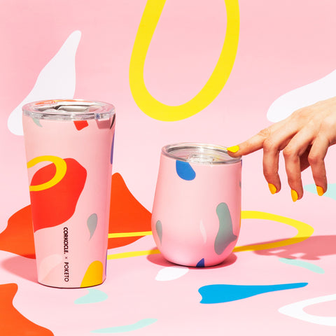 Corkcicle x Poketo Stemless in Pink Party