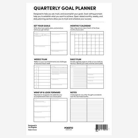 Quarterly Goal Planner in Blue