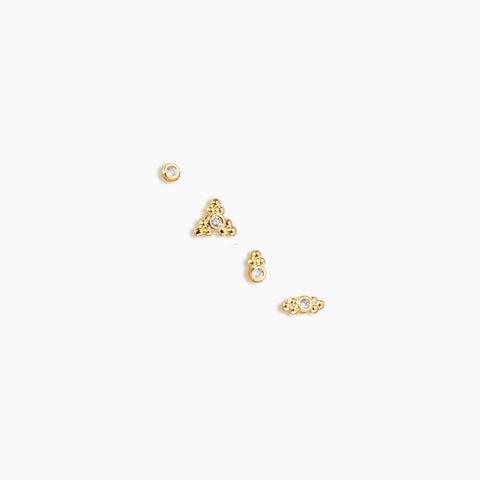 quatro earrings gold studs set of 4
