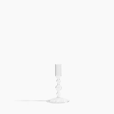 Clear Glass Candlestick Holder in Short
