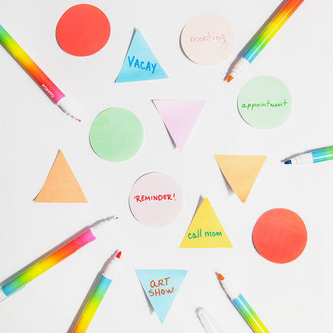 Geometric Sticky Notes Chroma Markers