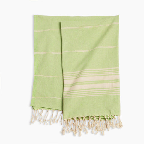 Turkish Pestemal Towel in Green/White