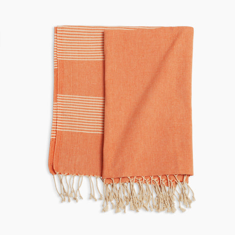 Turkish Pestemal Towel in Orange