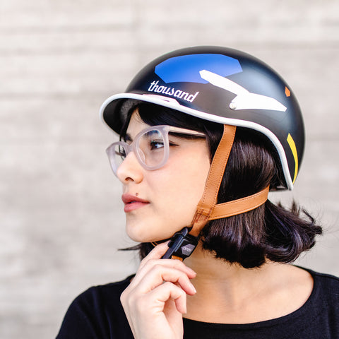 Poketo x Thousand Bike Helmet in Color Blocks on Model