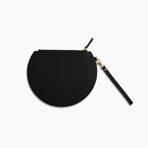 Three Quarter Moon Clutch in Black