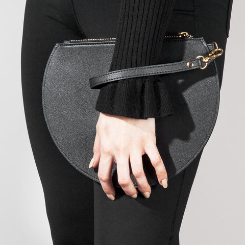 3/4 Moon Clutch in Black on Model