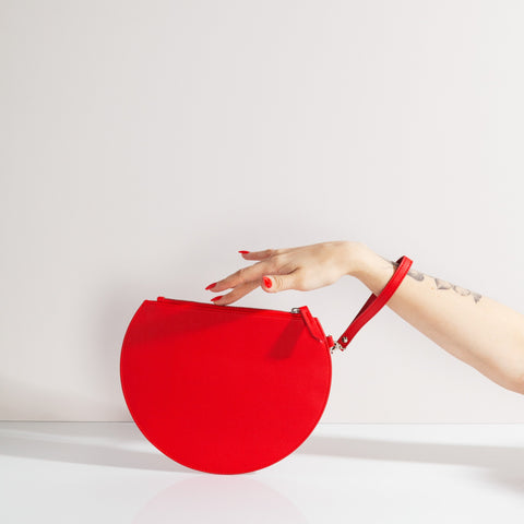 3/4 Moon Clutch in Red with Wrist Strap