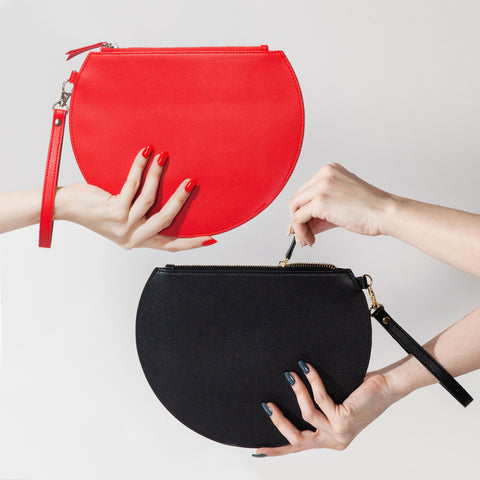 3/4 Moon Clutch in Red and Black