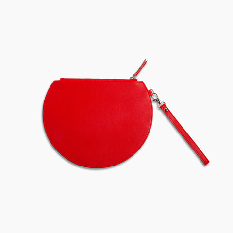 Three Quarter Moon Clutch in Red