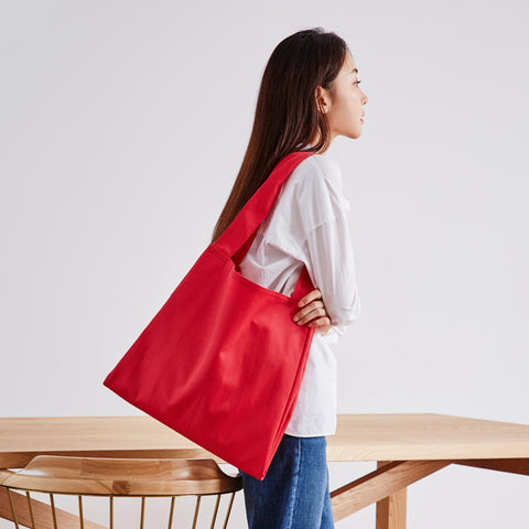 Twin Tote Red Bag on Model