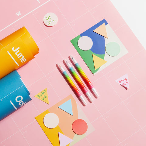 Geometric Sticky Notes Chroma Markers Spectrum Wall Planner