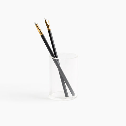 Lucite Pencil Holder Cup Gold Acrylic