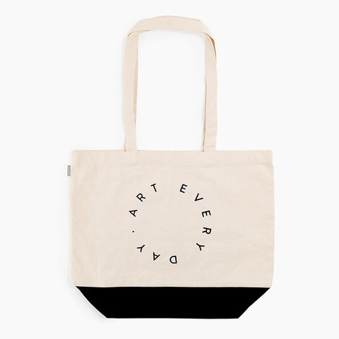 Art Every Day Tote Canvas black text and bottom