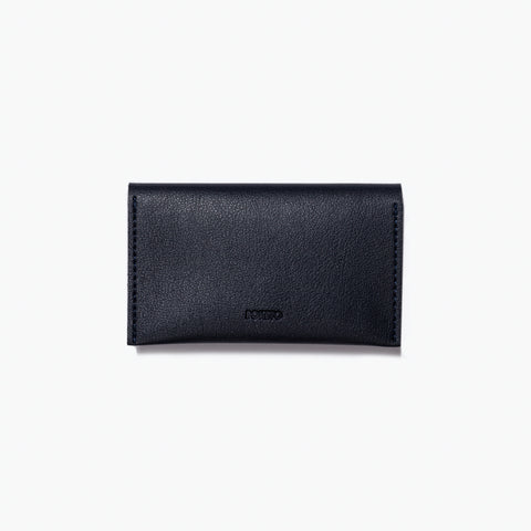 minimal card case navy blue wallet purse vegan leather