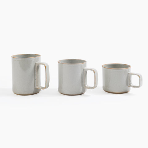 Hasami Porcelain Large Medium Small Mugs in Gray