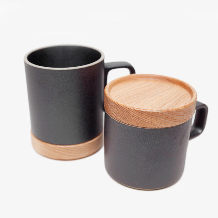 Cup With Lid : Hasami wooden mug coaster and lid in ash poketo