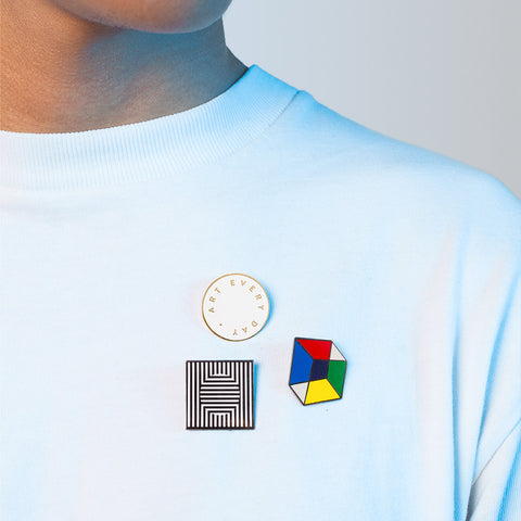 Refraction Enamel Pin Primary Color cube