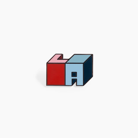 LA Los Angeles Block Enamel Pin blue red
