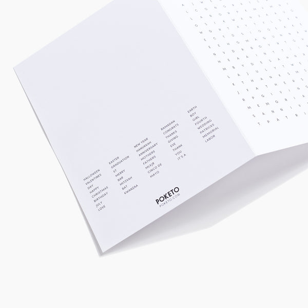 Word Search Card