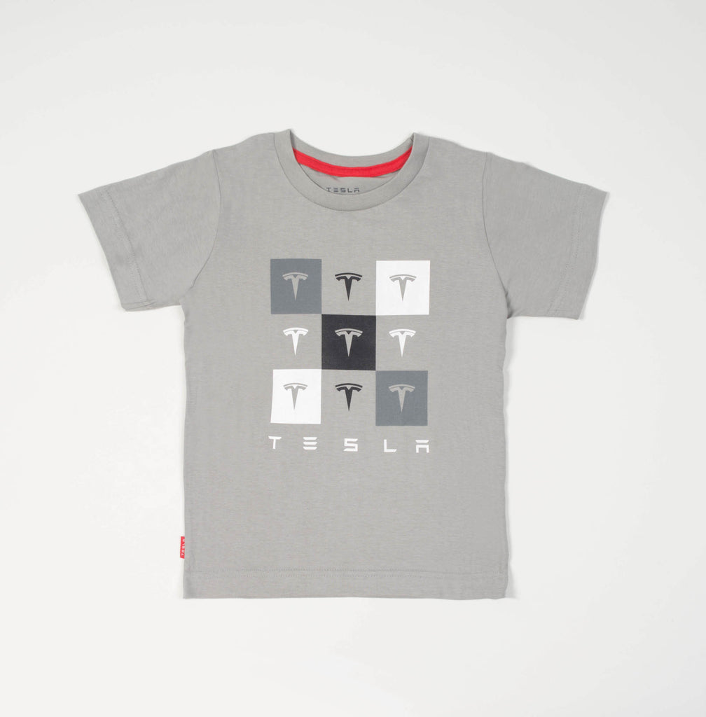 Kid's Gray Checkered Tee