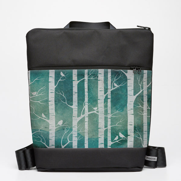 Oversize Backpack with Birch Forest - Marine