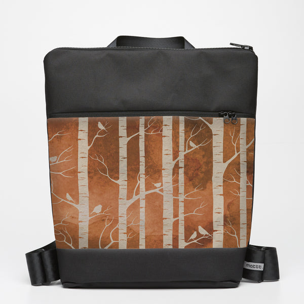 Oversize Backpack with Birch Forest - Ochre